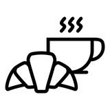 Breakfast Morning Coffee Croissant Hot Tea vector icon - 227060903