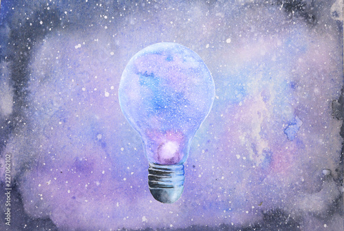 watercolor light bulb abstract galaxy background © atichat