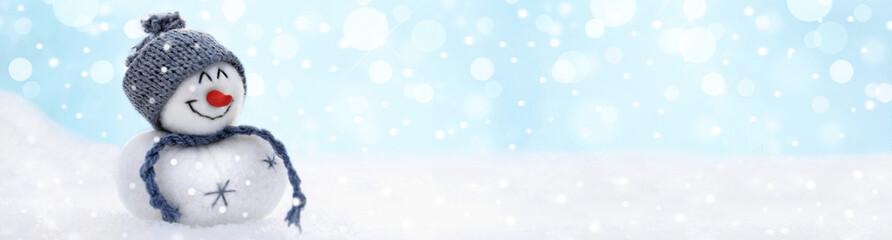 Weihnachtlicher Schneemann im Winter - XXL - Banner Format