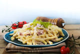 tasty Carbonara pasta on the table - 227073728