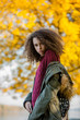 Teen girl in autumn park
