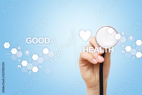 Foto Murales Good health check. Medical doctor using modern virtual screen computer.