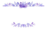 Card Template with Watercolor Violet Lotus - 227086749
