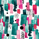 Doodle Seamless Pattern of Watercolor Lines and Dots - 227086926
