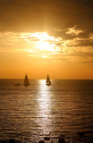Photo of sea sunset beautiful landscape with waves and boat