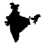 Black map country of India