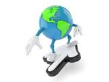 World globe character surfing on cursor