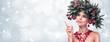 Leinwanddruck Bild - Beauty Fashion Model Girl with Fir Branches Decoration