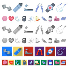 Gym and training cartoon icons in set collection for design. Gym and equipment vector symbol stock web illustration.