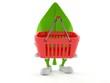 Leaf character holding empty shopping basket