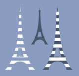 eiffel tower vector design set in vintage style shades of blue and white stripes