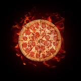 pepperoni pizza on fire on black background