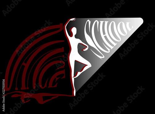 Dance school. Shadow girl ballroom dance. Vector © raz234
