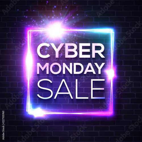 Neon sign with Cyber Monday text for decoration and covering on brick wall background. Advertising banner or flyer design template. Sale and discount concept. Realistic vector illustration.