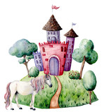 Watercolor fairy tale card witn castle and unicorn. Hand painted green trees and bushes, castle, unicorn isolated on white background. Forest illustration for design, print. - 227106197