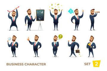 Businessman collection. Bearded charming business men in different situations. Modern character design.