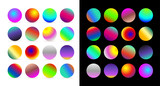 Set of rounded holographic gradient sphere button. Multicolor cyan fluid circle gradients, colorful soft round buttons or vivid color spheres. Vector, isolated on white and black background.