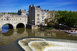 View of Bath from the Avon river. On the left is Pulteney Bridge