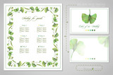 Set for wedding printing: seating for guests or invitations, card for dress code. Illustration of colored pencils, green leaves of ginkgo biloba. A set of templates with ready-made examples. - 227123954