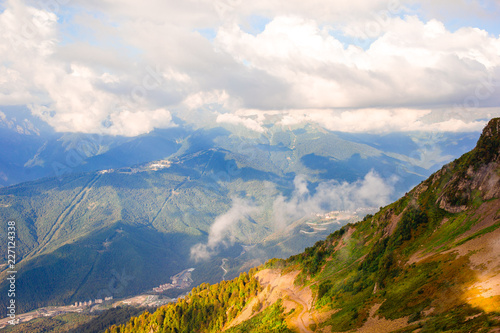 View of the mountains in the warm evening light - 227124338