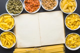 Various types of italian pasta and blank cookbook. - 227125338