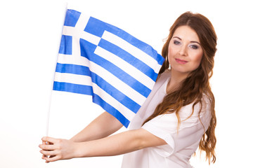 Woman with greek waving flag, on white