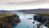 Drone photography of godafoss waterfall in iceland on an evening in autumn