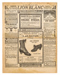 Leinwanddruck Bild - Newspaper pages antique advertising Used paper background