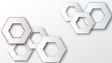 Hexagon technology background with cut paper geometric shapes. Vector illustration. - 227127954