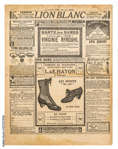 Leinwanddruck Bild Newspaper pages antique advertising Used paper background