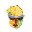 Tasty art / Creative concept photo of cubist style female face in sunglasses made of fruits and vegetables, on white background. - 227128931