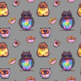 Seamless pattern with funny multicolored owls. Watercolor on gray background.