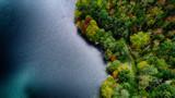 然別湖の空撮