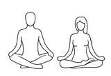 Man and woman of lotus yoga pose. Lotus pose. Vector illustration for label, icon, web. Isolated on white background. For web, logotype, icon, banner, poster