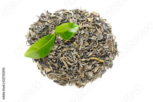 Leinwandbild Motiv Green tea leaf isolated on white background.