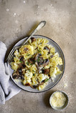 Farfalle pasta with mushrooms and cauliflower.Top vie with copy space. - 227154906