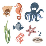Cute Sea animals set. Doodle colorful vector illustration.