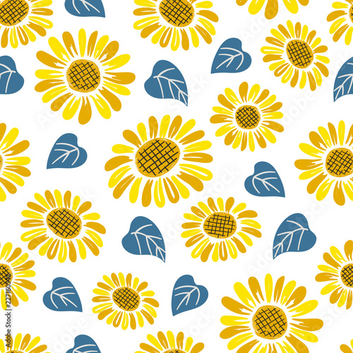 Seamless doodle sunflower pattern. - 227160542