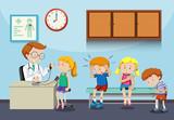 Sick children wait to see doctor