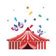 circus tent masks confetti carnival celebration