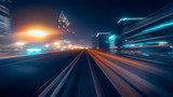 View from first railway carriage. Speed motion blur metro abstract background at night - 227179732