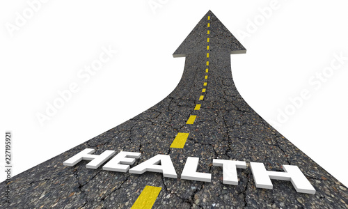 Foto Murales Health Lifestyle Positive Good Life Road Arrow 3d Illustration