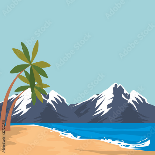 beach seascape scene icon