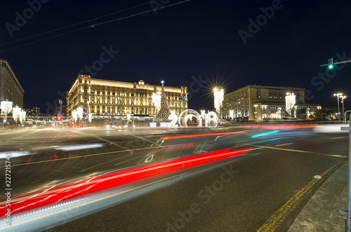 Christmas (New Year holidays) decoration Lubyanskaya (Lubyanka) Square in the evening, Moscow, Russia
