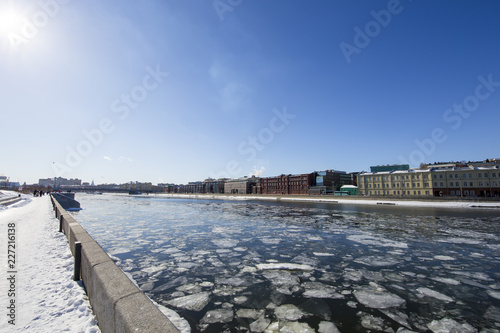 Moskow (Moskva) River embankment, Russia (winter day)