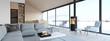 Leinwandbild Motiv new modern scandinavian loft apartment. 3d rendering