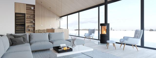 new modern scandinavian loft apartment. 3d rendering © 2mmedia