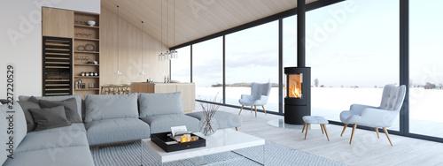 Leinwanddruck Bild new modern scandinavian loft apartment. 3d rendering