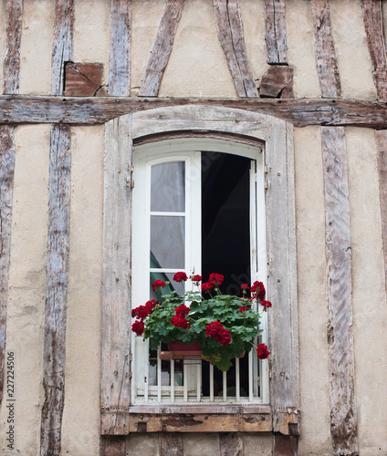 Foto Murales Typical old wall with wood beams in France and window with flower pots.