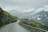 Geiranger, Norway, the road of the eagles. The road among the mountains of Geiranger ends with a very steep serpentine. - 227226512
